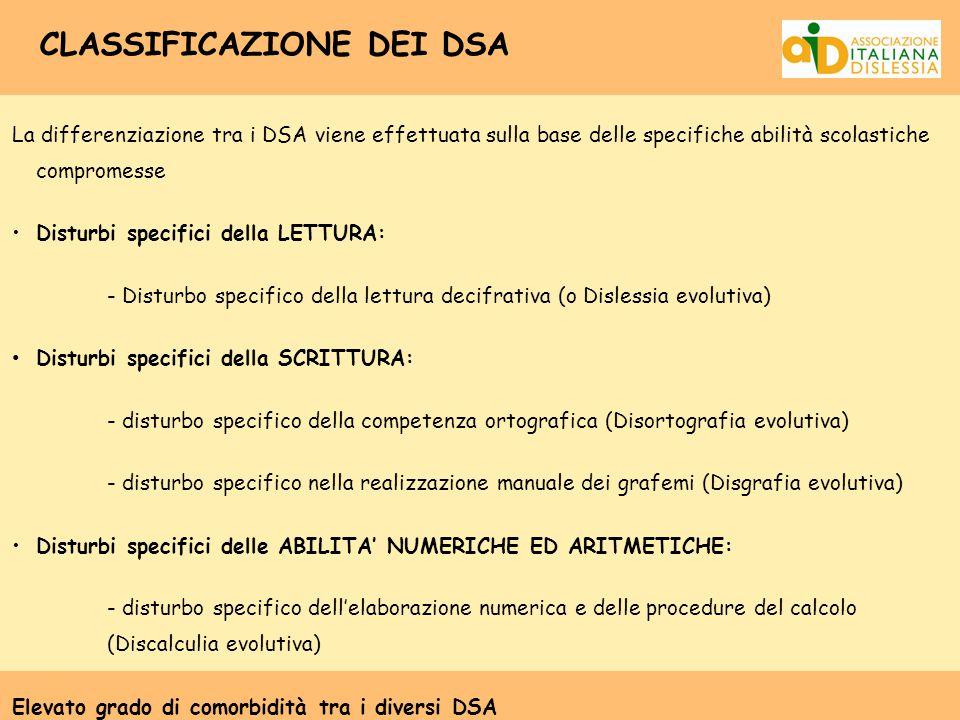 CLASSIFICAZIONE DEI DSA La differenziazione tra i DSA viene effettuata sulla base delle specifiche abilità scolastiche compromesse Disturbi specifici