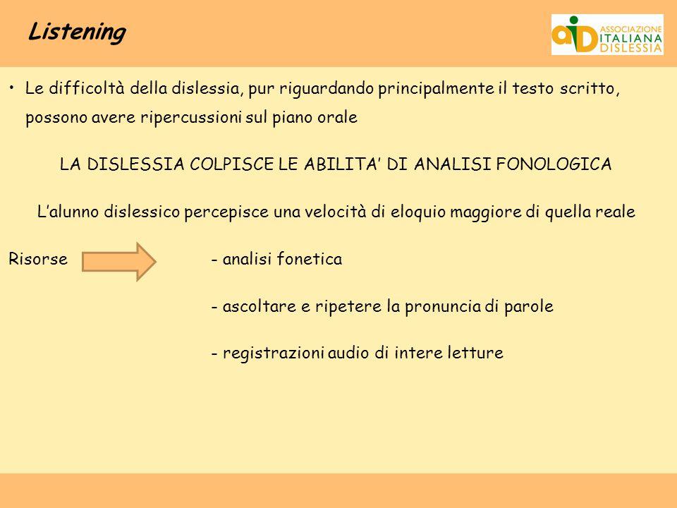 Listening Le difficoltà della dislessia, pur riguardando principalmente il testo scritto, possono avere ripercussioni sul piano orale LA DISLESSIA COL