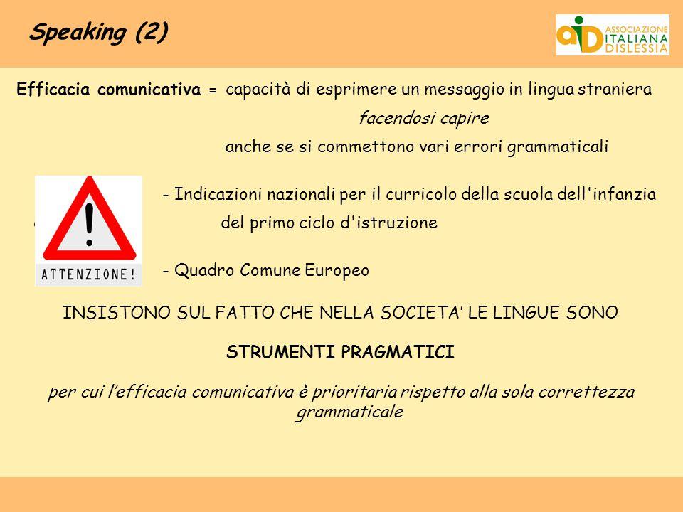 Speaking (2) Efficacia comunicativa = capacità di esprimere un messaggio in lingua straniera facendosi capire anche se si commettono vari errori gramm