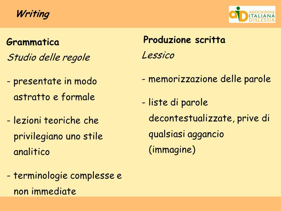 Writing Grammatica Studio delle regole - presentate in modo astratto e formale - lezioni teoriche che privilegiano uno stile analitico - terminologie