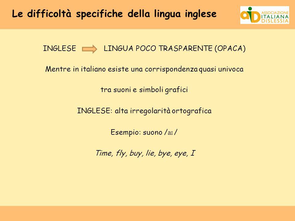 Le difficoltà specifiche della lingua inglese INGLESE LINGUA POCO TRASPARENTE (OPACA) Mentre in italiano esiste una corrispondenza quasi univoca tra s