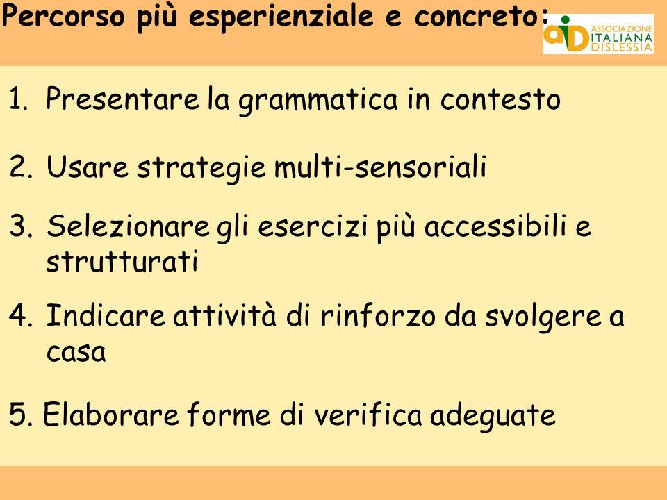 Percorso più esperienziale e concreto: 1.Presentare la grammatica in contesto 2.Usare strategie multi-sensoriali 3.Selezionare gli esercizi più access