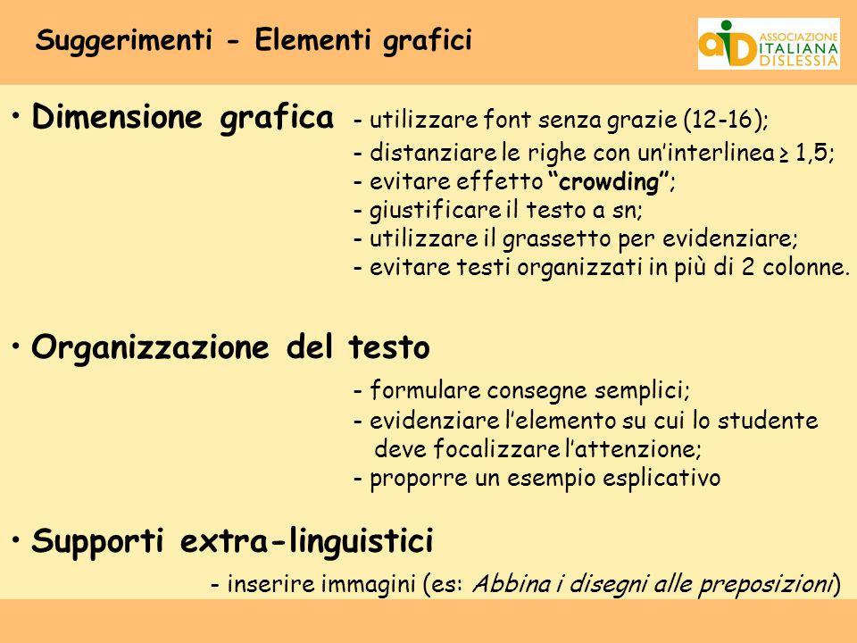Suggerimenti - Elementi grafici Dimensione grafica - utilizzare font senza grazie (12-16); - distanziare le righe con un'interlinea ≥ 1,5; - evitare e