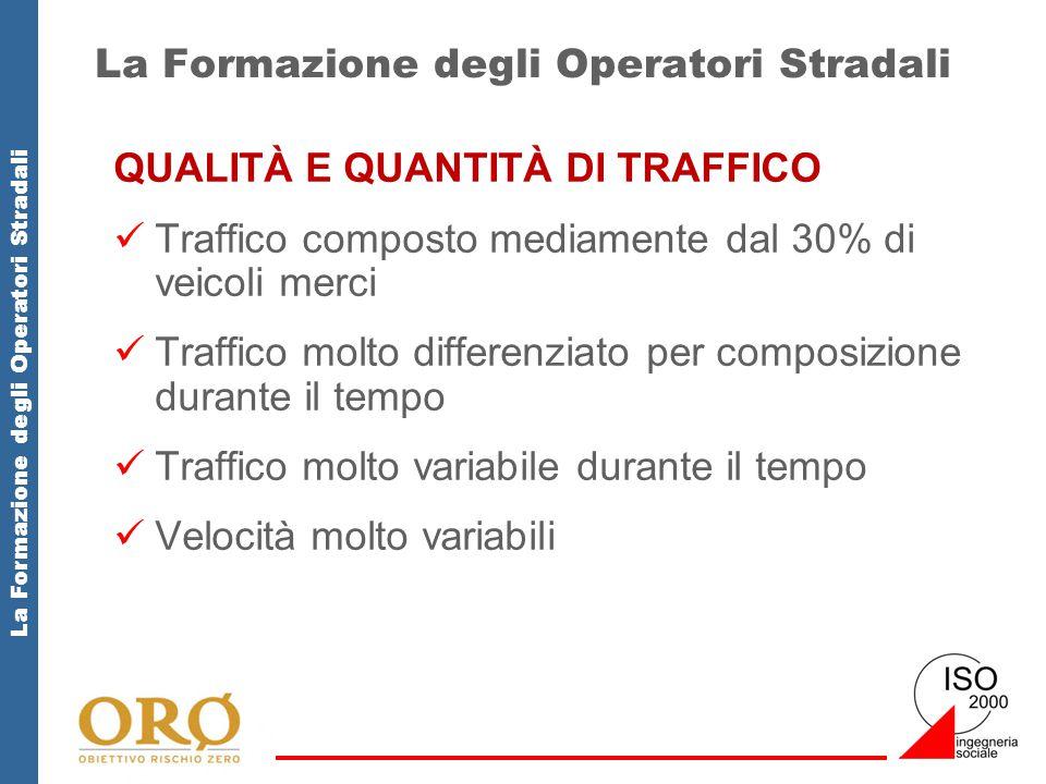 La Formazione degli Operatori Stradali QUALITÀ E QUANTITÀ DI TRAFFICO Traffico composto mediamente dal 30% di veicoli merci Traffico molto differenzia