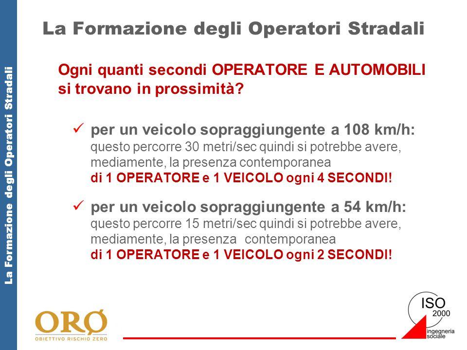 La Formazione degli Operatori Stradali Ogni quanti secondi OPERATORE E AUTOMOBILI si trovano in prossimità? per un veicolo sopraggiungente a 108 km/h: