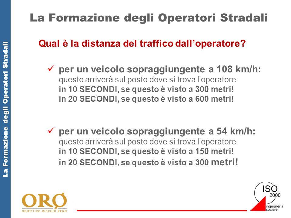 La Formazione degli Operatori Stradali Qual è la distanza del traffico dall'operatore? per un veicolo sopraggiungente a 108 km/h: questo arriverà sul