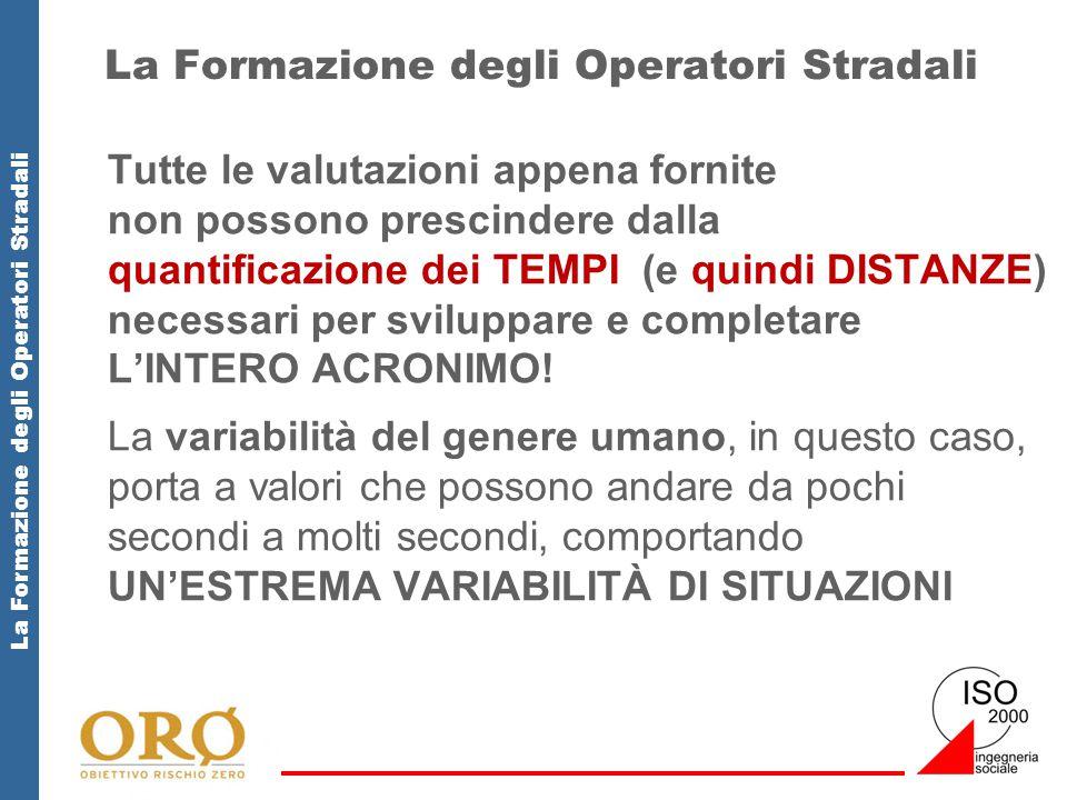 La Formazione degli Operatori Stradali Tutte le valutazioni appena fornite non possono prescindere dalla quantificazione dei TEMPI (e quindi DISTANZE) necessari per sviluppare e completare L'INTERO ACRONIMO.