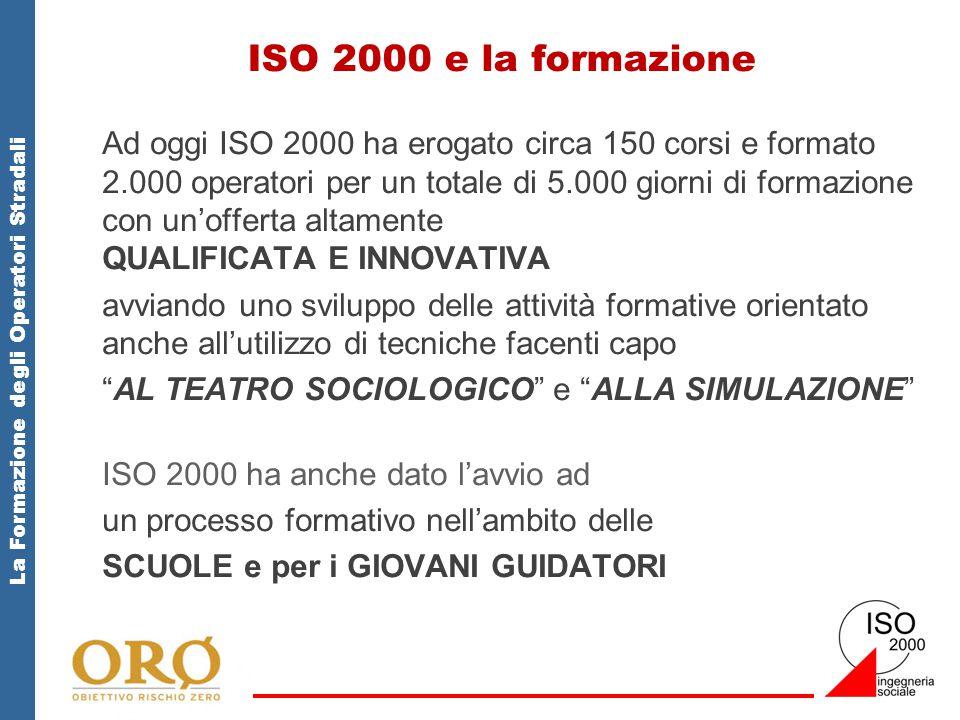 La Formazione degli Operatori Stradali ISO 2000 e la formazione Ad oggi ISO 2000 ha erogato circa 150 corsi e formato 2.000 operatori per un totale di 5.000 giorni di formazione con un'offerta altamente QUALIFICATA E INNOVATIVA avviando uno sviluppo delle attività formative orientato anche all'utilizzo di tecniche facenti capo AL TEATRO SOCIOLOGICO e ALLA SIMULAZIONE ISO 2000 ha anche dato l'avvio ad un processo formativo nell'ambito delle SCUOLE e per i GIOVANI GUIDATORI