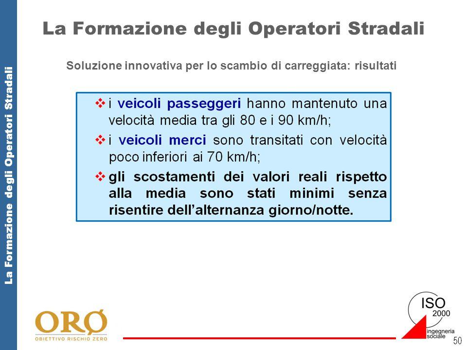 La Formazione degli Operatori Stradali 50 Soluzione innovativa per lo scambio di carreggiata: risultati