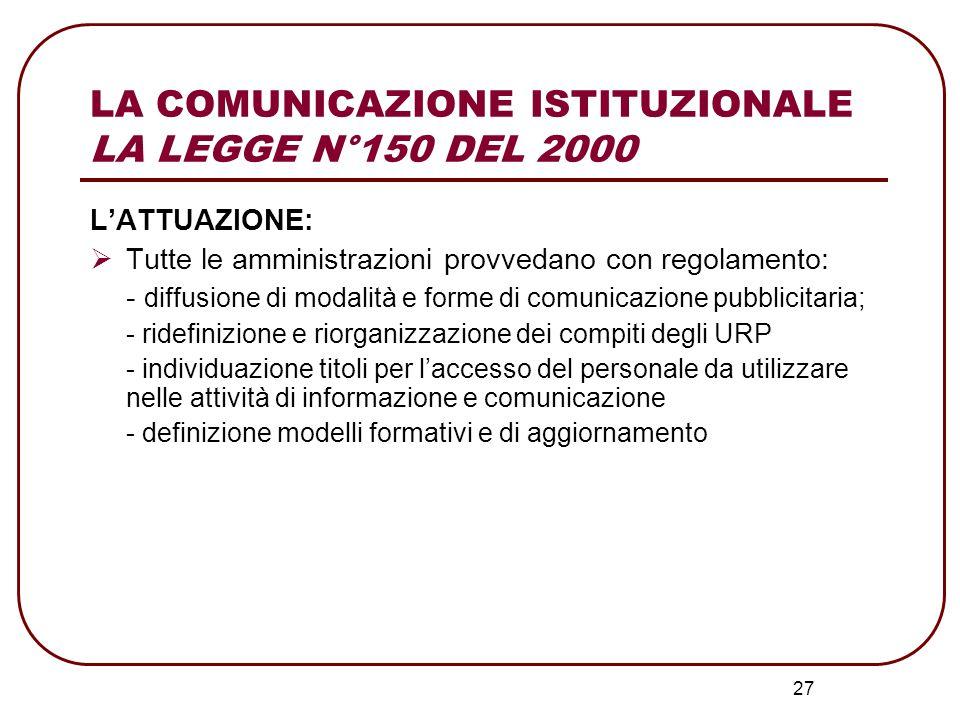 28 LA COMUNICAZIONE ISTITUZIONALE TITOLI DI ACCESSO NECESSARI PER SVOLGERE ATTIVITA' DI COMUNICAZIONE E INFORMAZIONE D.P.R.