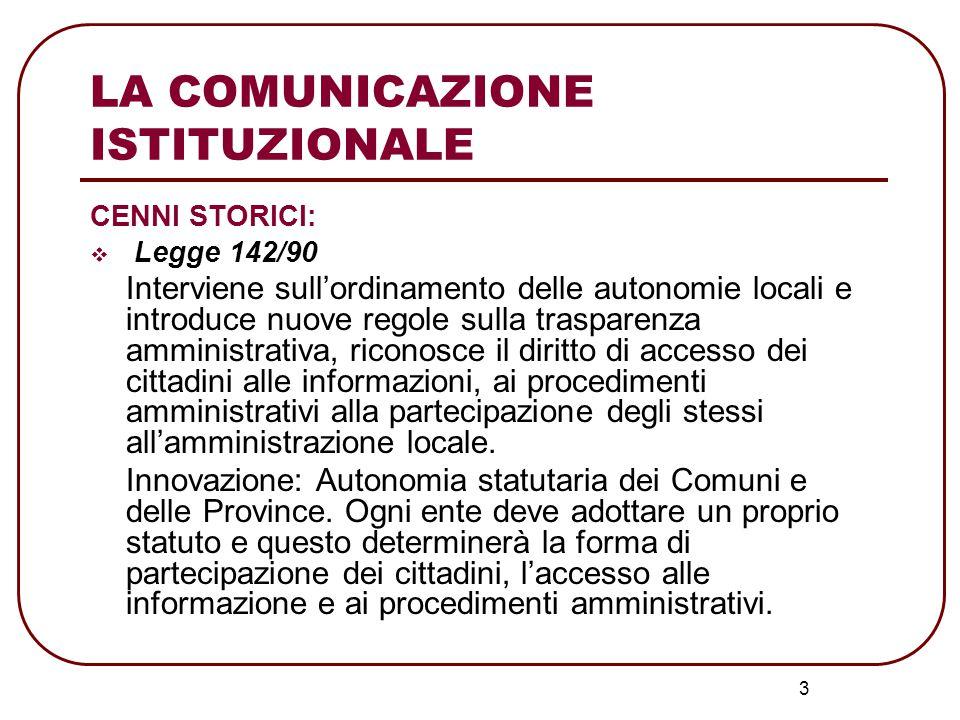 LA COMUNICAZIONE ISTITUZIONALE  Legge 241/90 Estende i contenuti della legge 142/90 a tutti gli enti pubblici Scopo: maggiore efficienza, trasparenza e semplicità nell'attività amministrativa.