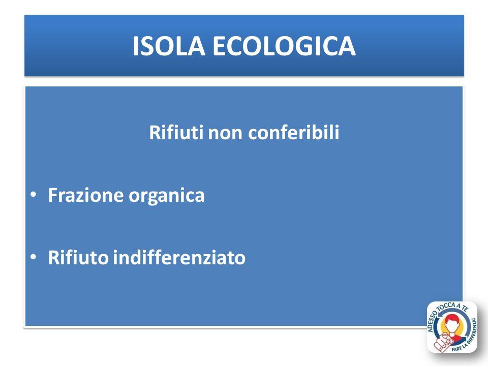 Rifiuti non conferibili Frazione organica Rifiuto indifferenziato Rifiuti non conferibili Frazione organica Rifiuto indifferenziato