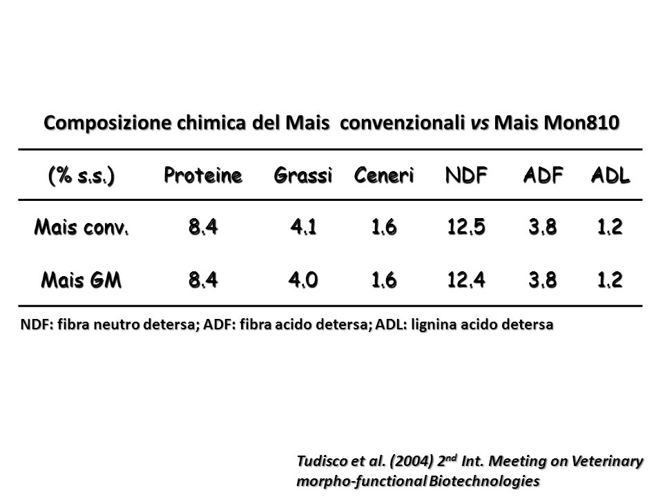 Composizione chimica del Mais convenzionali vs Mais Mon810 (% s.s.) ProteineGrassiCeneriNDFADFADL Mais conv. 8.44.11.612.53.81.2 Mais GM 8.44.01.612.4