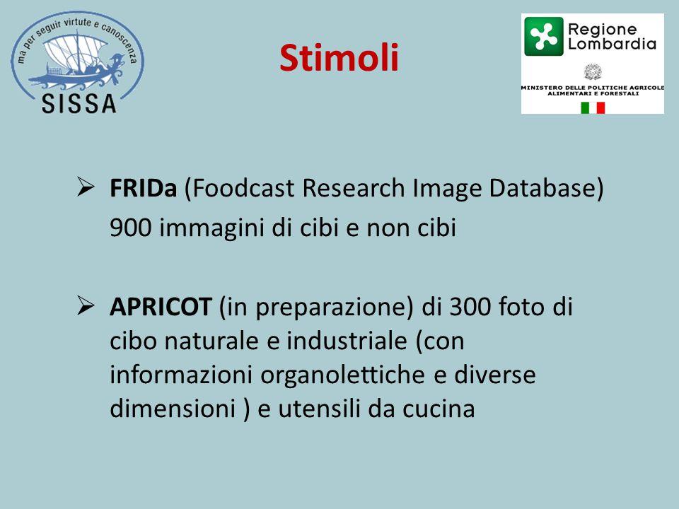 Stimoli  FRIDa (Foodcast Research Image Database) 900 immagini di cibi e non cibi  APRICOT (in preparazione) di 300 foto di cibo naturale e industriale (con informazioni organolettiche e diverse dimensioni ) e utensili da cucina