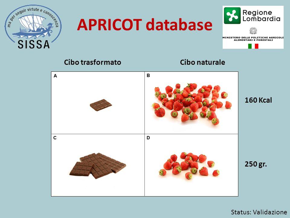 APRICOT database 160 Kcal 250 gr. Status: Validazione Cibo trasformatoCibo naturale