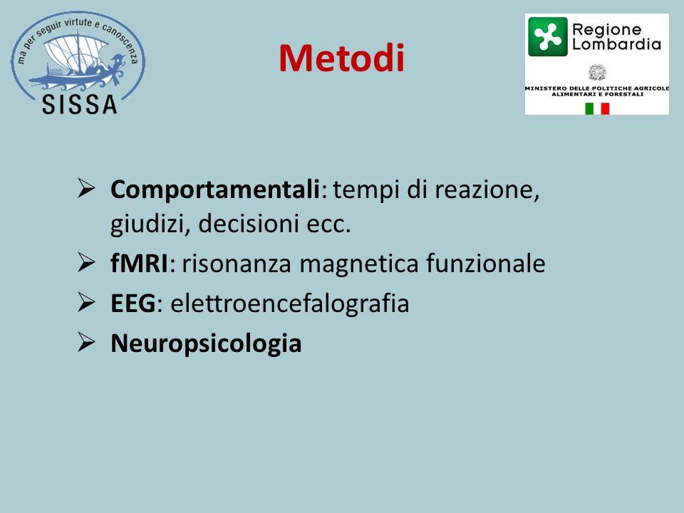 Metodi  Comportamentali: tempi di reazione, giudizi, decisioni ecc.  fMRI: risonanza magnetica funzionale  EEG: elettroencefalografia  Neuropsicol