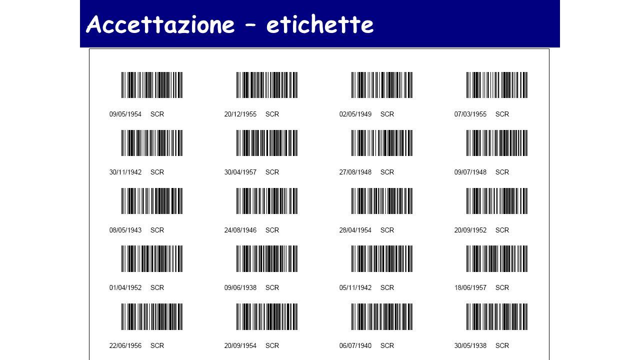 Accettazione – etichette