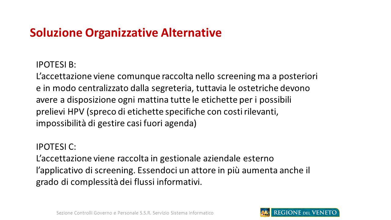 Soluzione Organizzative Alternative Sezione Controlli Governo e Personale S.S.R.