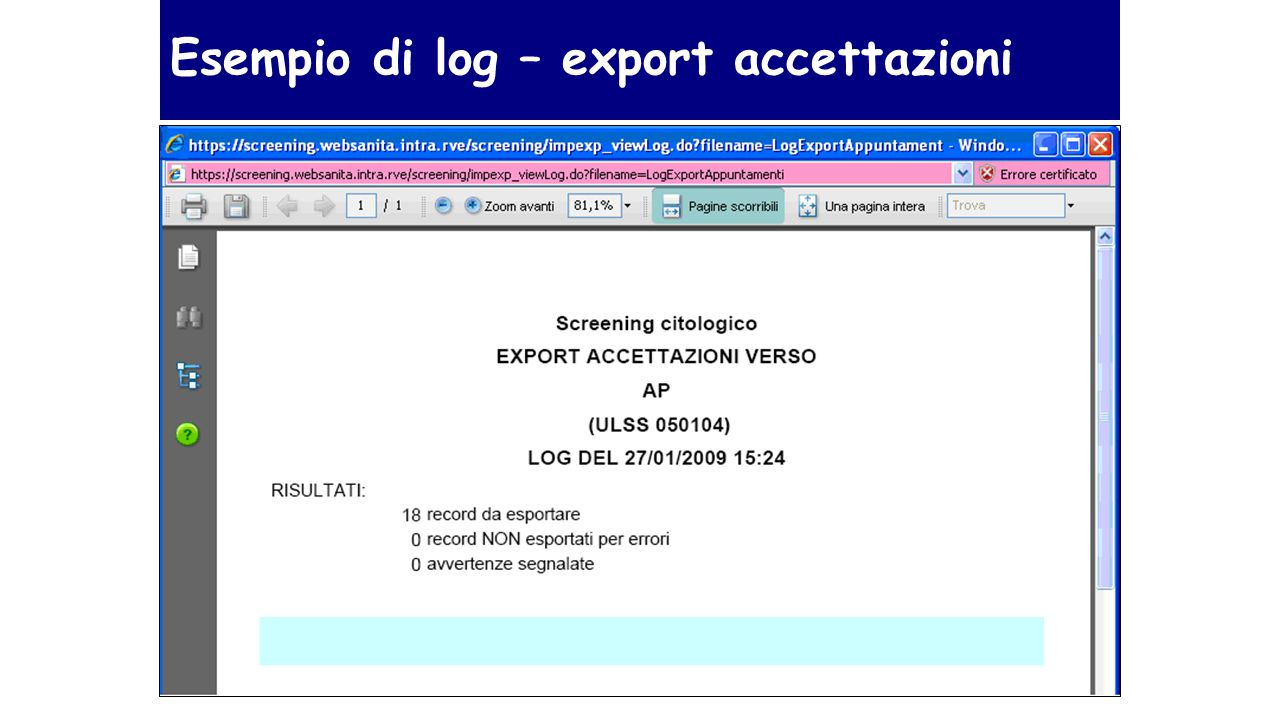 Esempio di log – export accettazioni