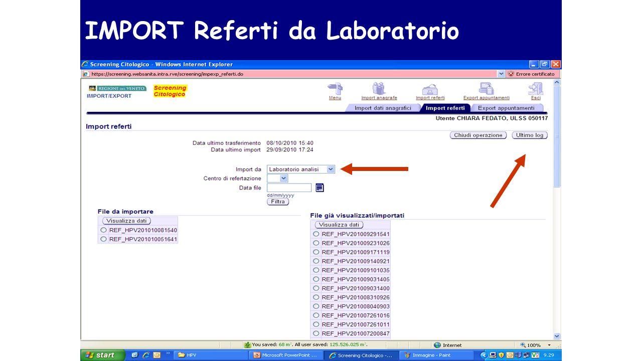 IMPORT Referti da Laboratorio