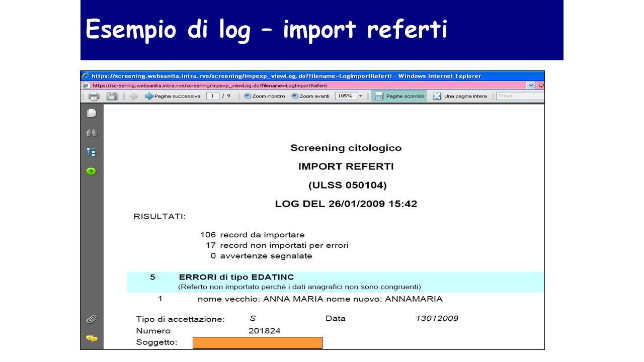 Esempio di log – import referti