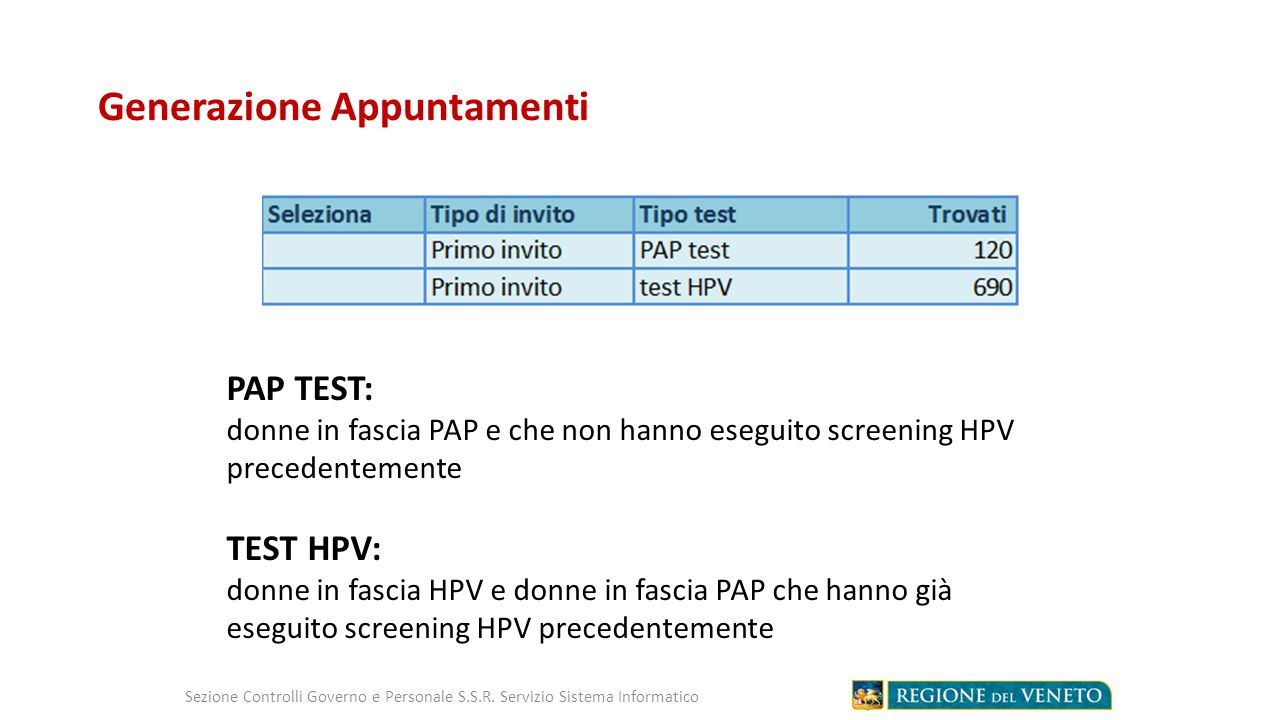 Accettazione – Etichettatura Campioni HPV Sezione Controlli Governo e Personale S.S.R.