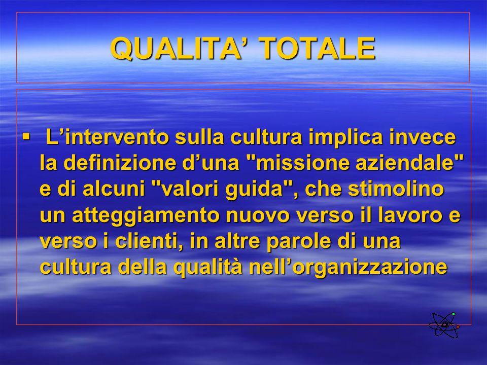 QUALITA' TOTALE  L'intervento sulla cultura implica invece la definizione d'una