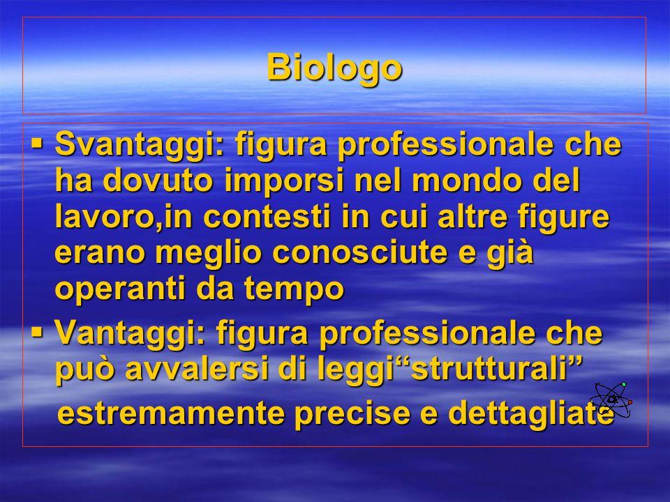Biologo  Svantaggi: figura professionale che ha dovuto imporsi nel mondo del lavoro,in contesti in cui altre figure erano meglio conosciute e già ope