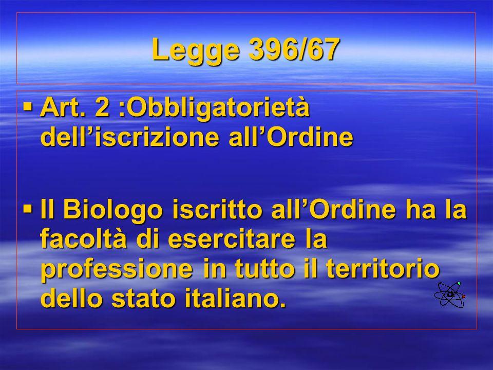 Legge 396/67  Art. 2 :Obbligatorietà dell'iscrizione all'Ordine  Il Biologo iscritto all'Ordine ha la facoltà di esercitare la professione in tutto