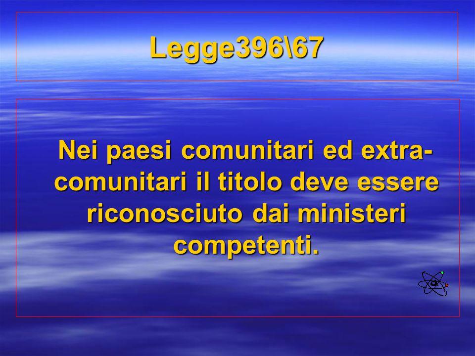 Legge396\67 Nei paesi comunitari ed extra- comunitari il titolo deve essere riconosciuto dai ministeri competenti. Nei paesi comunitari ed extra- comu