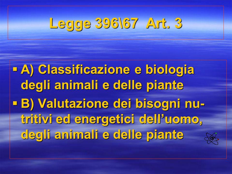 Legge 396\67 Art. 3  A) Classificazione e biologia degli animali e delle piante  B) Valutazione dei bisogni nu- tritivi ed energetici dell'uomo, deg