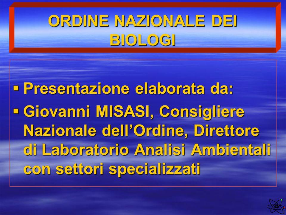 ORDINE NAZIONALE DEI BIOLOGI  Presentazione elaborata da:  Giovanni MISASI, Consigliere Nazionale dell'Ordine, Direttore di Laboratorio Analisi Ambi