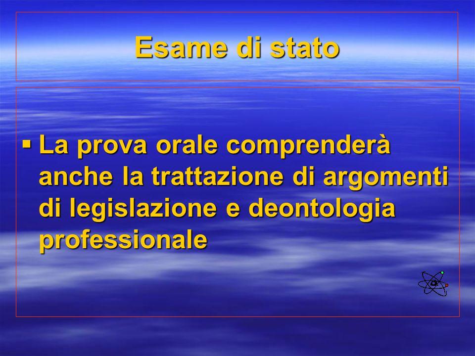 Esame di stato  La prova orale comprenderà anche la trattazione di argomenti di legislazione e deontologia professionale