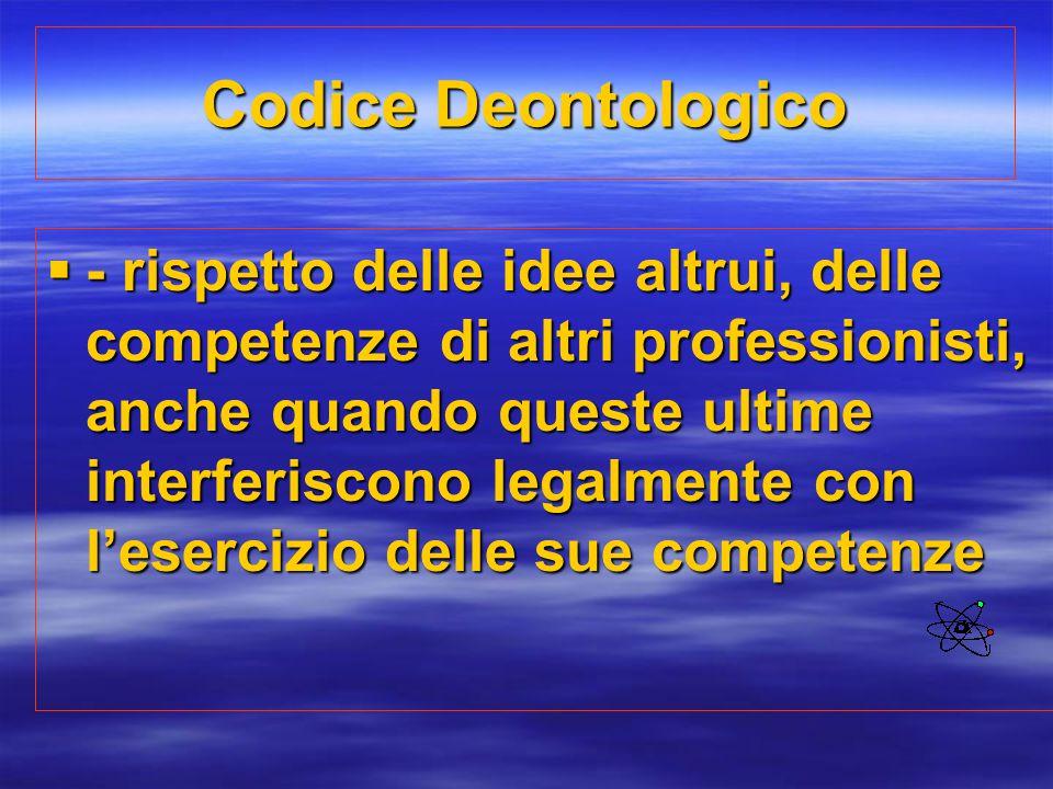 Codice Deontologico  - rispetto delle idee altrui, delle competenze di altri professionisti, anche quando queste ultime interferiscono legalmente con