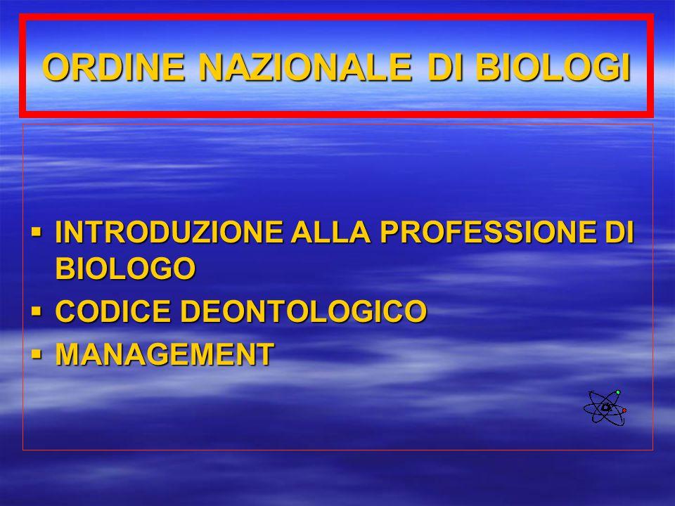 ORDINE NAZIONALE DI BIOLOGI  INTRODUZIONE ALLA PROFESSIONE DI BIOLOGO  CODICE DEONTOLOGICO  MANAGEMENT