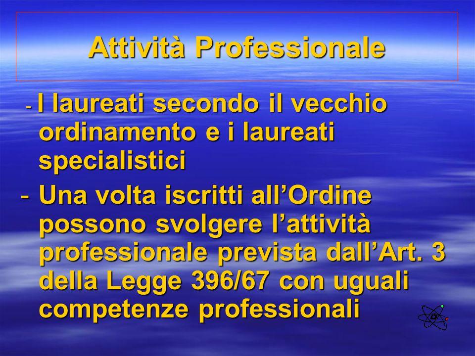 Attività Professionale - I laureati secondo il vecchio ordinamento e i laureati specialistici - I laureati secondo il vecchio ordinamento e i laureati