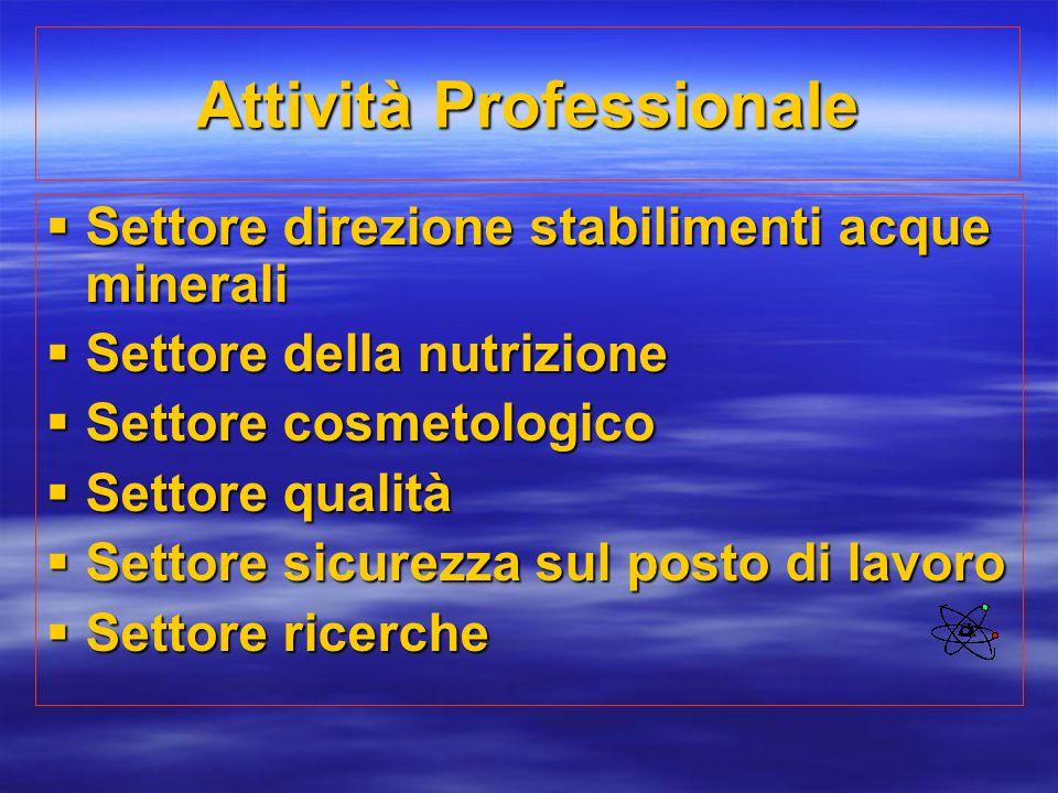 Attività Professionale  Settore direzione stabilimenti acque minerali  Settore della nutrizione  Settore cosmetologico  Settore qualità  Settore