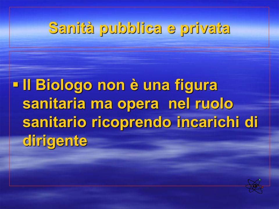 Sanità pubblica e privata  Il Biologo non è una figura sanitaria ma opera nel ruolo sanitario ricoprendo incarichi di dirigente