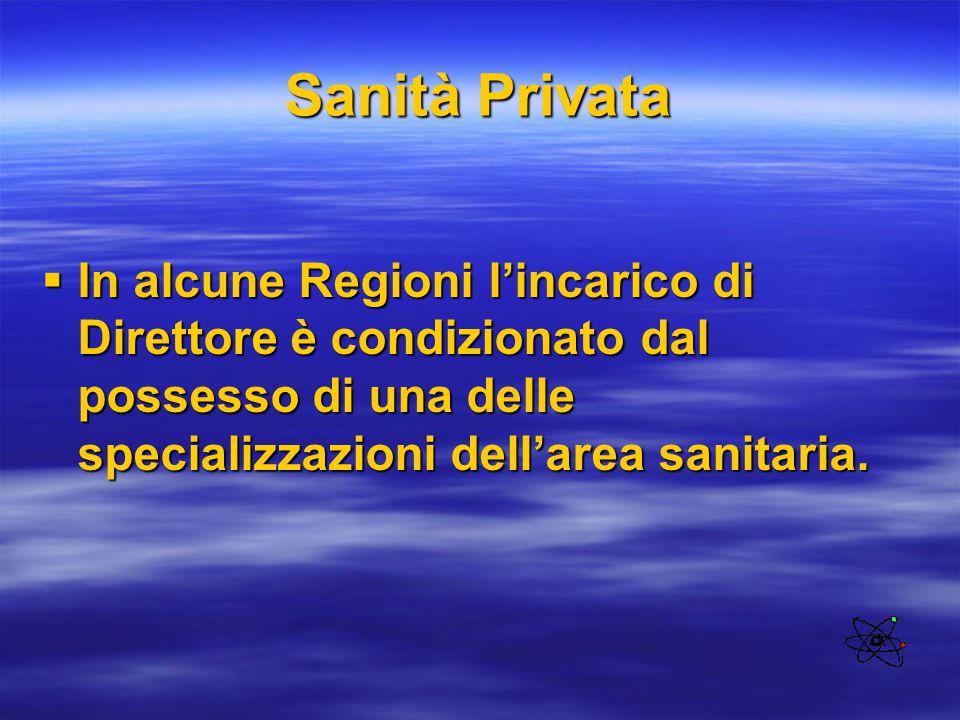 Sanità Privata  In alcune Regioni l'incarico di Direttore è condizionato dal possesso di una delle specializzazioni dell'area sanitaria.