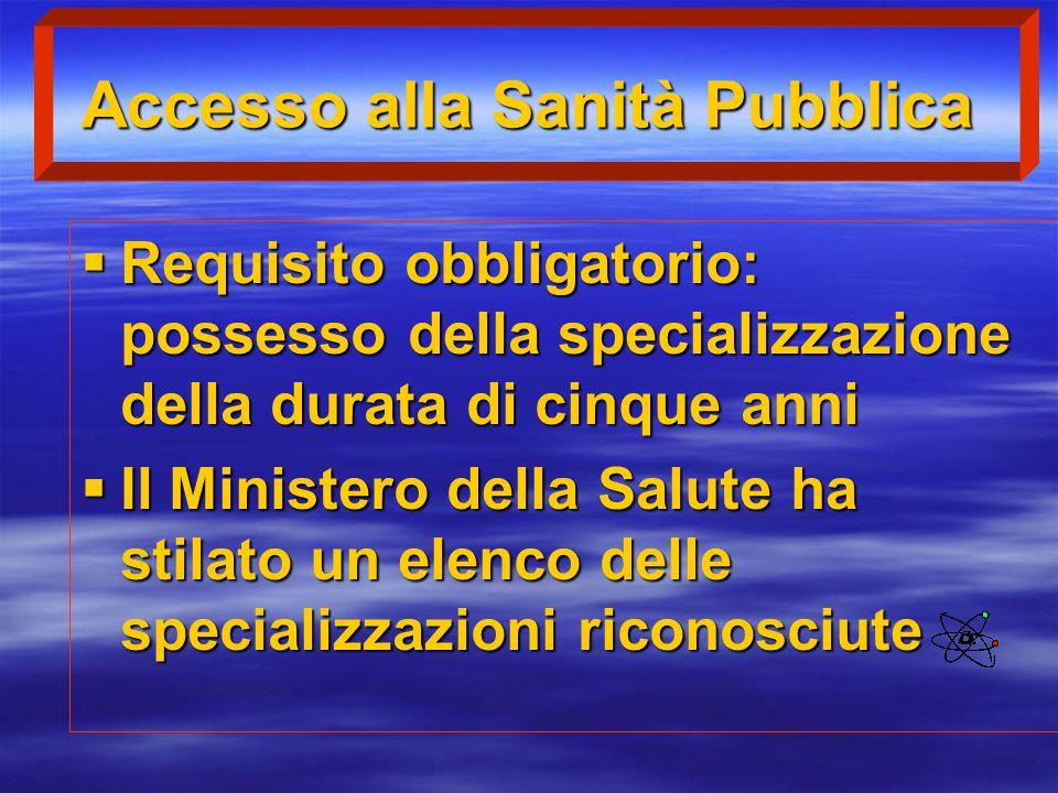 Accesso alla Sanità Pubblica  Requisito obbligatorio: possesso della specializzazione della durata di cinque anni  Il Ministero della Salute ha stil