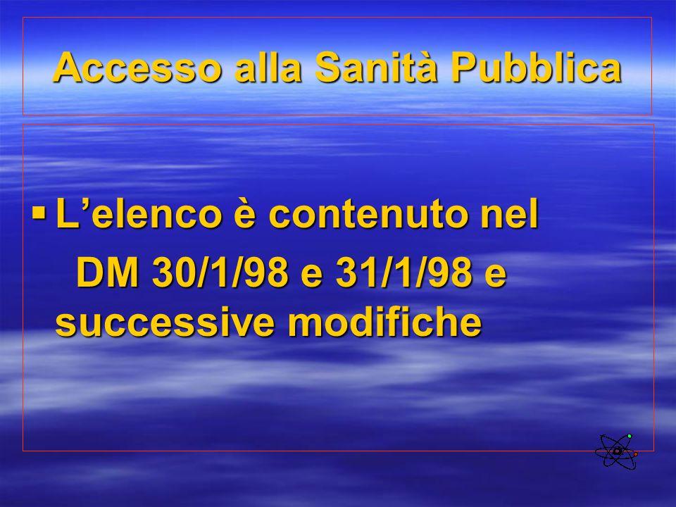 Accesso alla Sanità Pubblica  L'elenco è contenuto nel DM 30/1/98 e 31/1/98 e successive modifiche DM 30/1/98 e 31/1/98 e successive modifiche