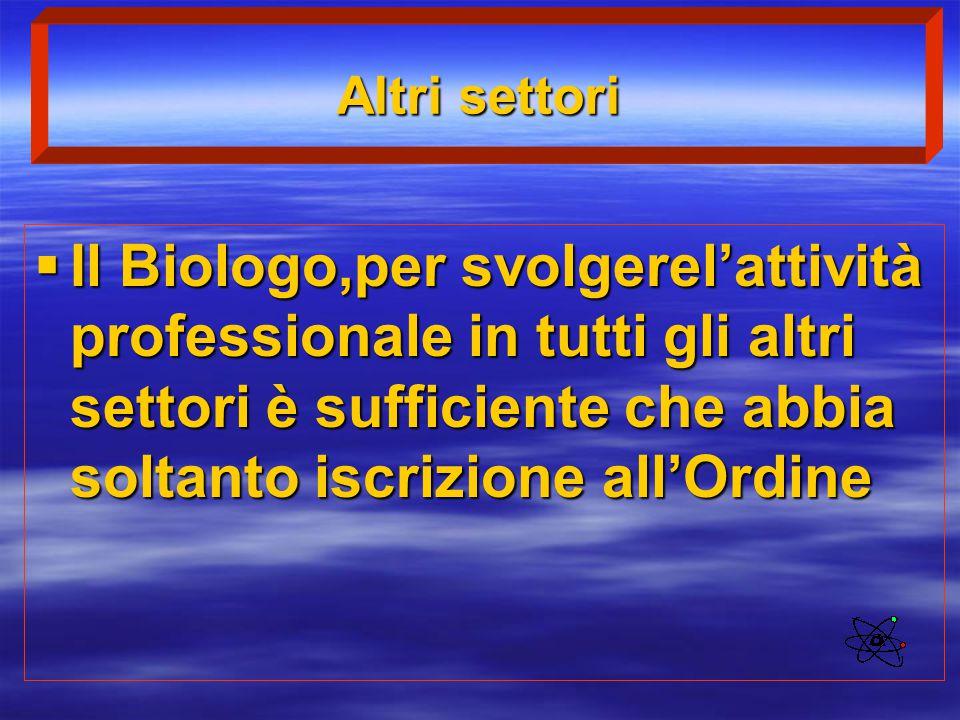 Altri settori  Il Biologo,per svolgerel'attività professionale in tutti gli altri settori è sufficiente che abbia soltanto iscrizione all'Ordine