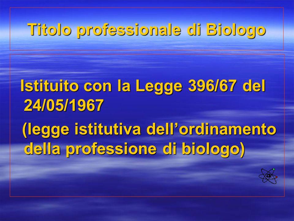 Titolo professionale di Biologo Istituito con la Legge 396/67 del 24/05/1967 Istituito con la Legge 396/67 del 24/05/1967 (legge istitutiva dell'ordin