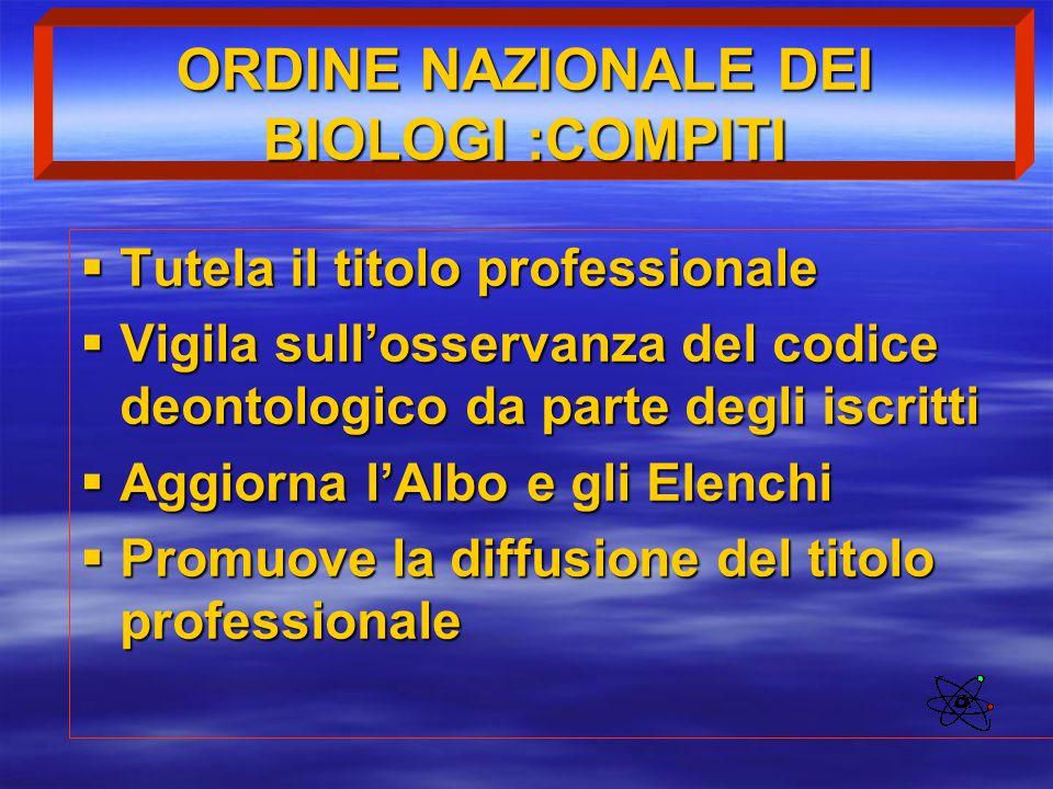 ORDINE NAZIONALE DEI BIOLOGI :COMPITI  Tutela il titolo professionale  Vigila sull'osservanza del codice deontologico da parte degli iscritti  Aggi