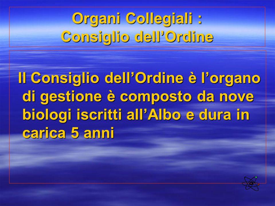 Organi Collegiali : Consiglio dell'Ordine Il Consiglio dell'Ordine è l'organo di gestione è composto da nove biologi iscritti all'Albo e dura in caric
