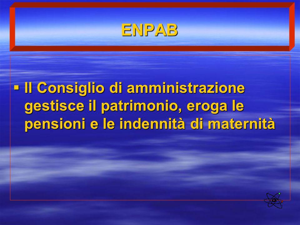 ENPAB  Il Consiglio di amministrazione gestisce il patrimonio, eroga le pensioni e le indennità di maternità