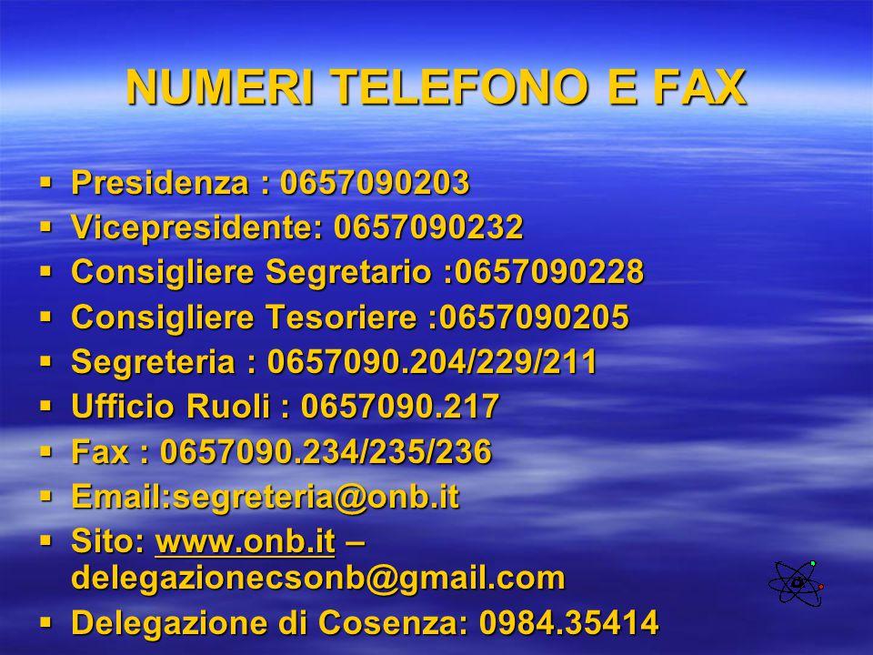 NUMERI TELEFONO E FAX  Presidenza : 0657090203  Vicepresidente: 0657090232  Consigliere Segretario :0657090228  Consigliere Tesoriere :0657090205