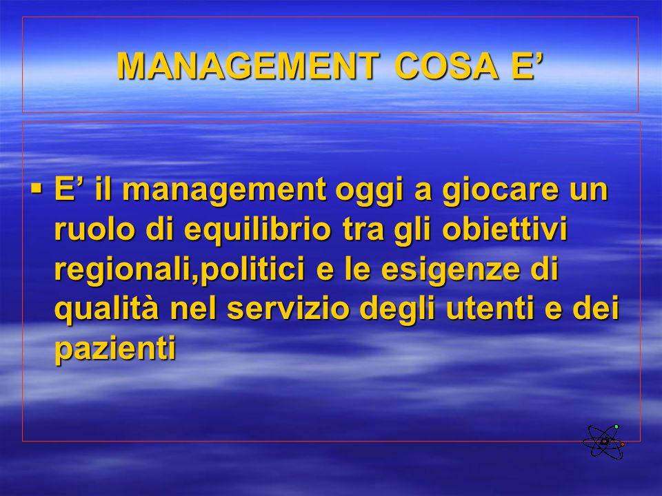 MANAGEMENT COSA E'  E' il management oggi a giocare un ruolo di equilibrio tra gli obiettivi regionali,politici e le esigenze di qualità nel servizio