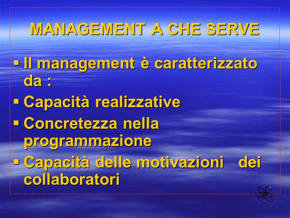 MANAGEMENT A CHE SERVE  Il management è caratterizzato da :  Capacità realizzative  Concretezza nella programmazione  Capacità delle motivazioni d
