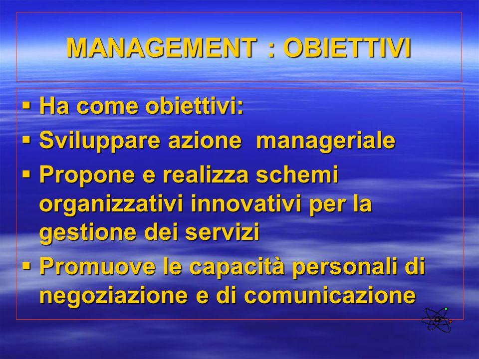 MANAGEMENT : OBIETTIVI  Ha come obiettivi:  Sviluppare azione manageriale  Propone e realizza schemi organizzativi innovativi per la gestione dei s